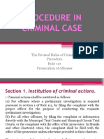 Procedure in Criminal Case