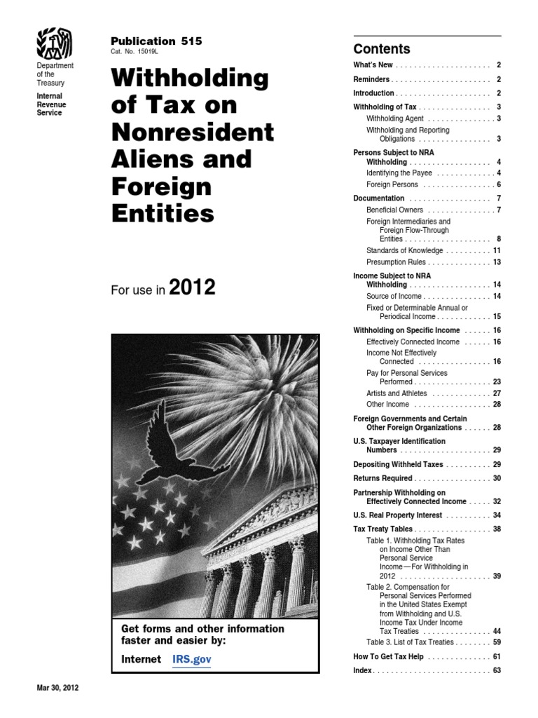 Publication 515 | Withholding Tax | Irs Tax Forms