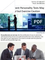 Pre-Employment Personality Tests May Be Helpful but Exercise Caution