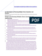 Budget and Planning Multiple Choice Questions and Answers List