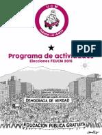 """Programa de la Lista """"Súbete al Carro"""" FEUCM 2015"""