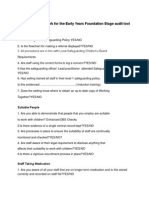 Statutory Framework for the Early Years Foundation Stage Audit Tool