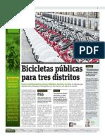 Bicicletas Públicas Para Tres Distritos