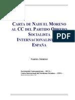 Carta de Nahuel Moreno Al CC Del Partido Obrero Socialista Internacionalista de España
