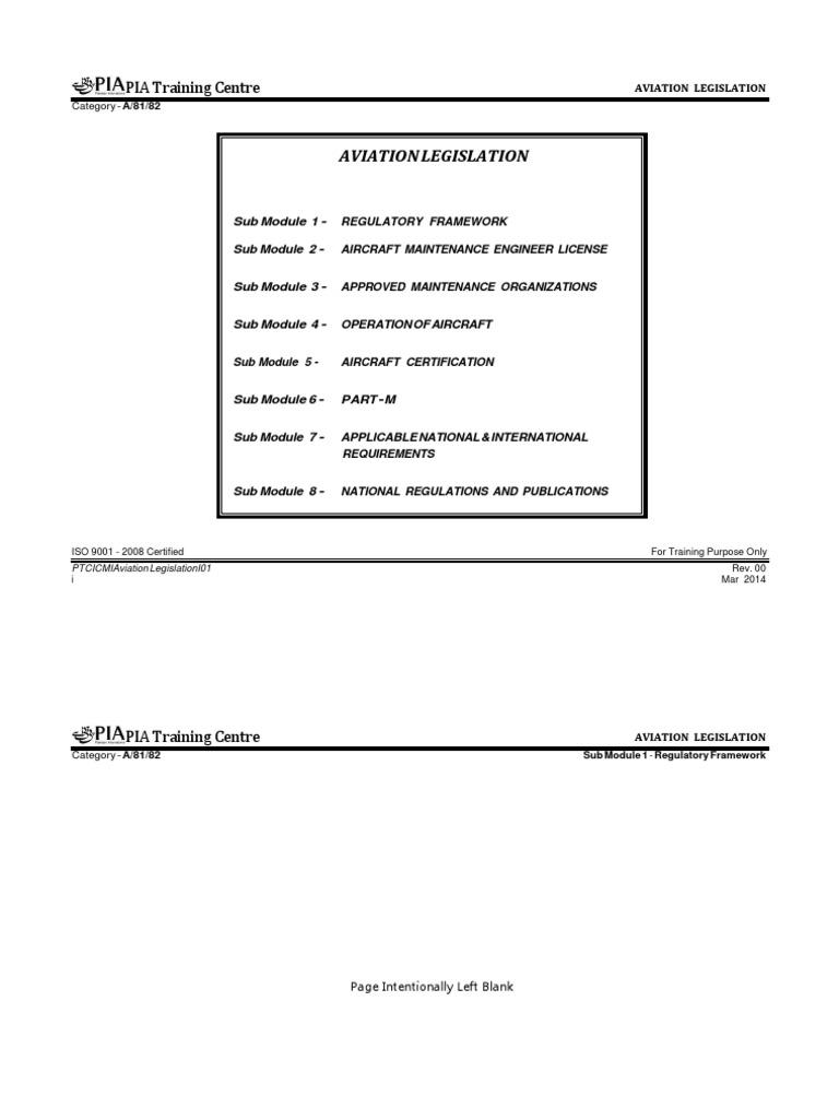 M 10 PIA Aviation Legislation | Transport | Aerospace Engineering