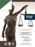 """IV Coloquio Retórica, Hermenéutica y Argumentación Jurídicas """"Argumentos, falacias y entimemas"""""""