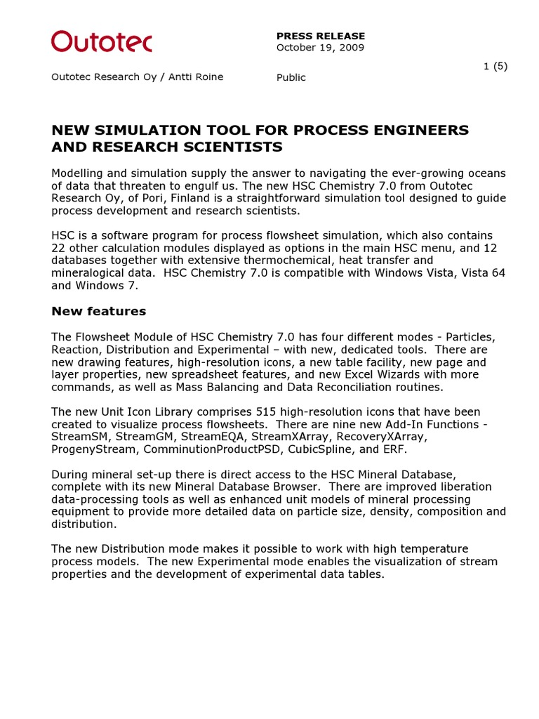 06 HSC 7 Press Release | Chemical Equilibrium | Simulation