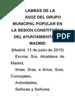Palabras en la sesión constitutiva del Ayto de Madrid