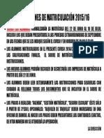 Aviso Instrucciones de Matriculación 14-15