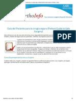 Guía Del Paciente Para La Cirugía Segura (Patient Guide to Safe Surgery)-OrthoInfo - AAOS