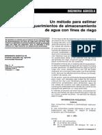 Un método para estimar los requerimientos de almacenamiento de agua con fines de riego