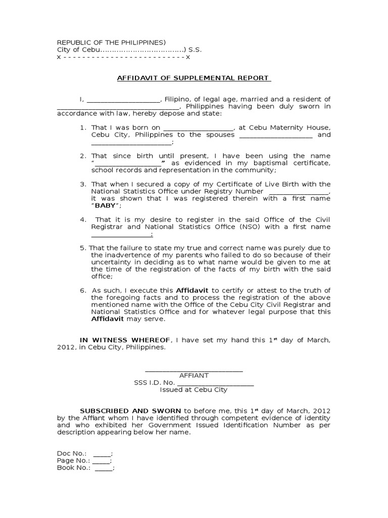 Affidavit of supplemental report yadclub Gallery