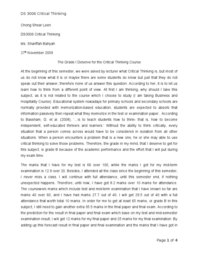 Critical Thinking Essay Example Sample Of Critical Thinking Essay
