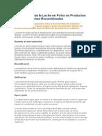 Aplicaciones de La Leche en Polvo en Productos Lácteos y Leches Recombinadas