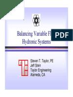 Balancing Variable Flow Systems Taylor