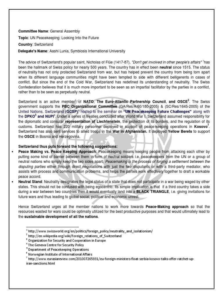 Sample Position Paper For MUN  PDF  Peacekeeping  Switzerland