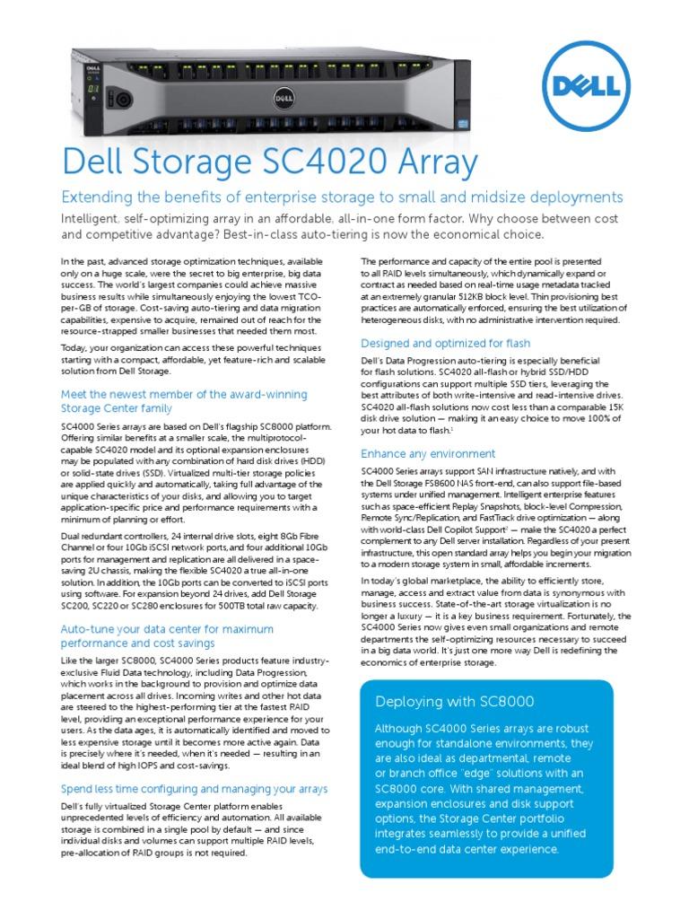 DellStorage SC4020 Spec Sheet 030714 | Computer Data Storage | Solid