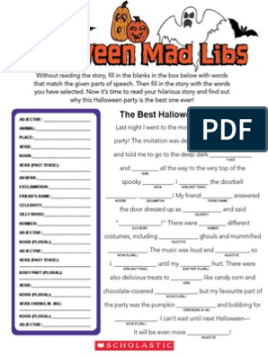 image regarding Halloween Mad Libs Printable Free referred to as Halloween Outrageous Libs