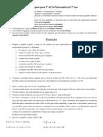 Exercícios Para Lista de Apoio 2a. AE