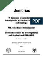 01 Psicologia Clinica y Psicopatologia, Congreso Psicología UBA 2014, VOL I