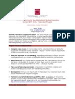 2015 New International Student Summer Preparation Program Syllabus and Calendar