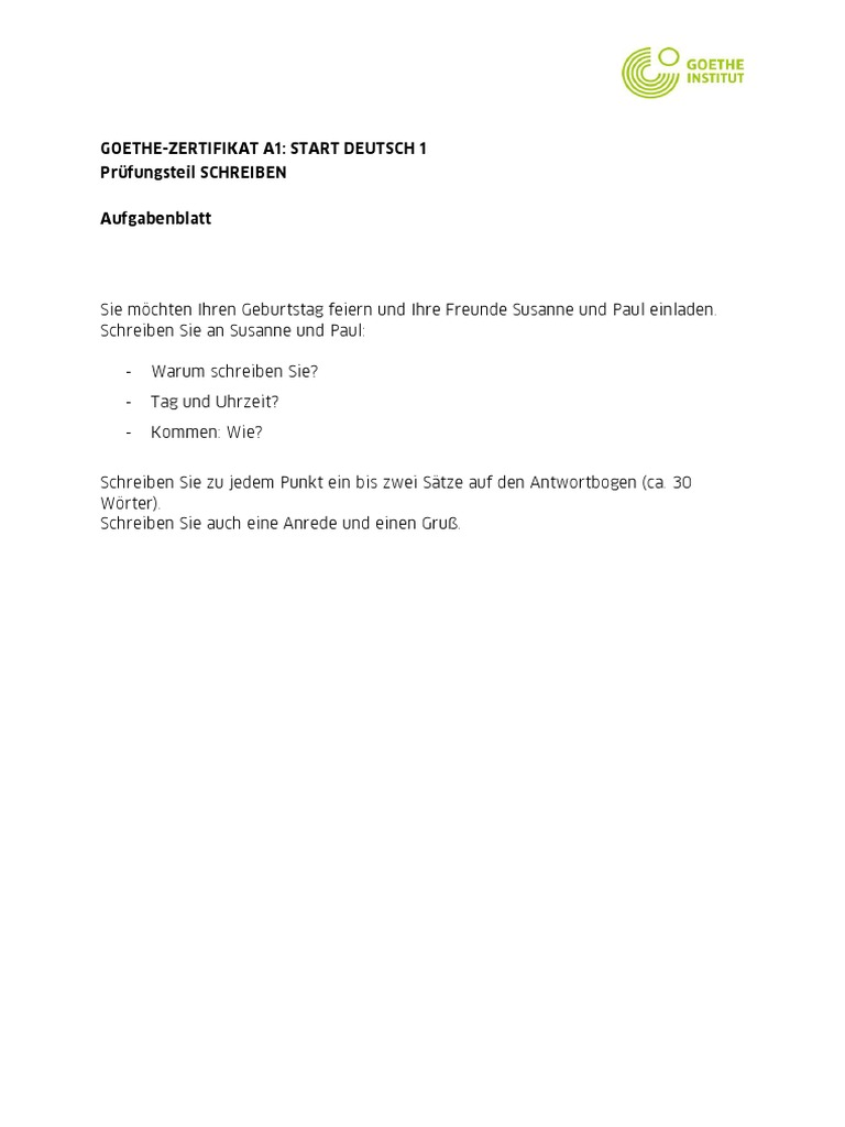 Brief schreiben goethe institut a1 Sekilas Mengenai