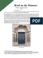 Offener Brief an Die Mainzer Bildhauer- Und Steinmetz-Innung