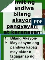 Gamit Ng Pandiwa Bilang Aksyon Pangyayari at Karanasan