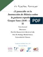 El Pasacalle en La Instrucción de Música Sobre La Guitarra Española de Gaspar Sanz (1640 - CA. 1710) - II