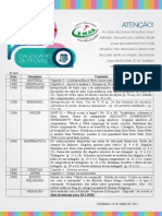 CALENDÁRIO 8° ano DIVULGAÇÃO DAS DATAS DE PROVAS DO 1° BIMESTRE -.doc