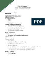 ana resume template - google docs sophomore