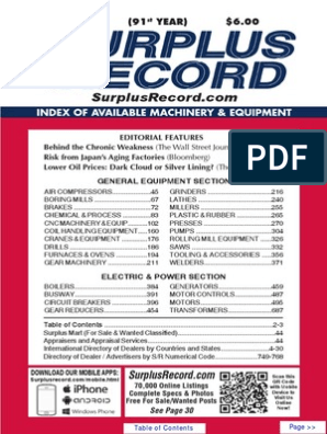 JULY 2015 Surplus Record Machinery & Equipment Directory