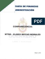 Comparecencia Secretaría de Finanzas y Administracion