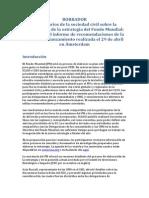 BORRADOR Comentarios de la sociedad civil sobre la elaboración de la estrategia del Fondo Mundial