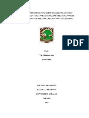 Proposal Penelitian Analisis Pengaruh Penagihan Pajak Dengan