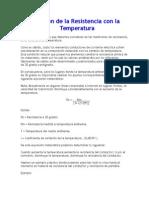 Variación de La Resistencia Con La Temperatura