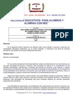 Recursos Educativos Para Alumnos y Alumnas Con Nee