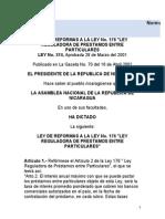 Ley No. 176 y 374 Ley de Préstamos Entre Particulares