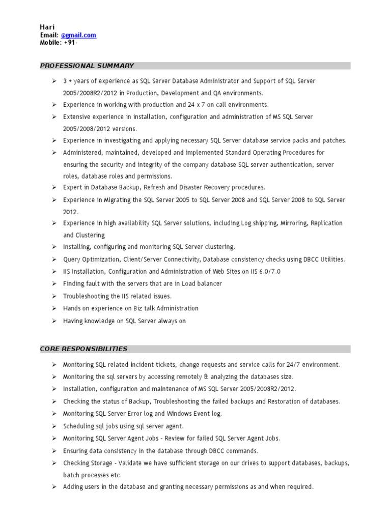 sample sql dba resume