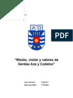 Misión,Visión y Valores de Gerdau Aza y Codelco.