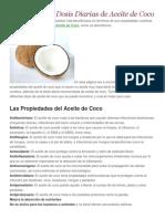 Propiedades y Dosis Diarias de Aceite de Coco