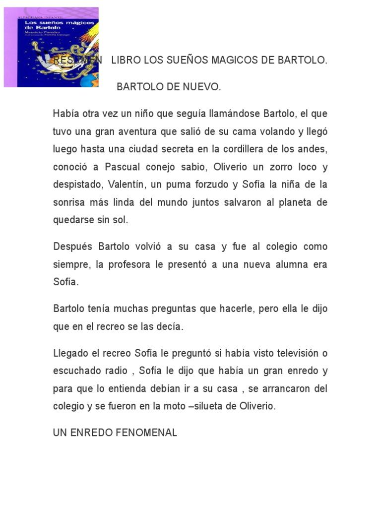 Resumen Libro Los Sueños Magicos De Bartolo