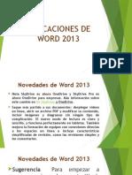 Aplicaciones de Word 2013