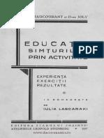 Educaţia Simţurilor Prin Activitate Experienţă Exerciţii Rezultate 1937