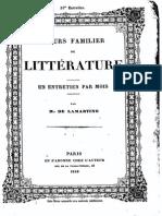 M.de Lamartine - Cours Familier de Littérature - Entretien 33