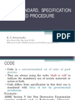 Code, Standard, Specification and Procedure