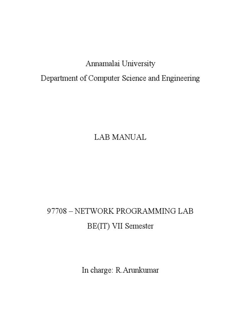 BE-IT-VII SEM - 97708- Network Lab Manual | Port (Computer Networking) | Network  Socket