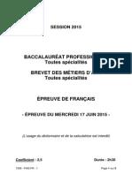 Bac pro 2015 - français