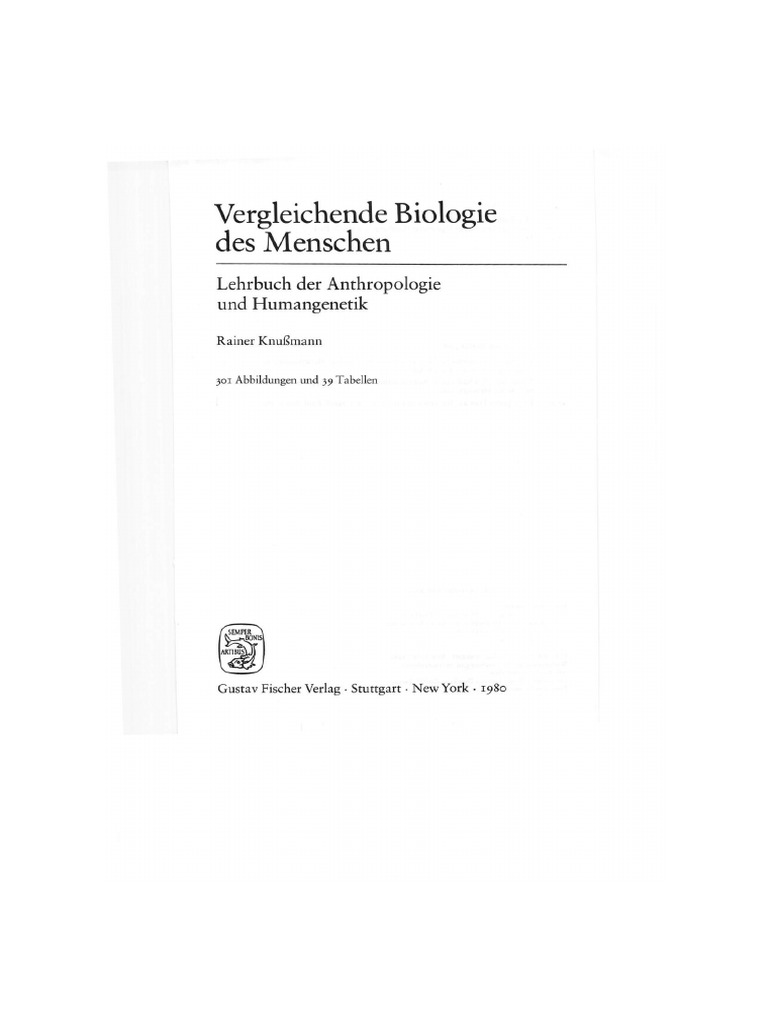 Rainer Knussmann: Vergleichende Biologie des Menschen (1. Auflage, 1980)