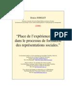 Jodelet, D. (2006). Place de l'Expérience Vécue Dans Le Processus de Formation Des Représentations Sociales